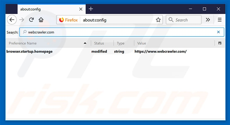 Removing webcrawler.com from Mozilla Firefox default search engine