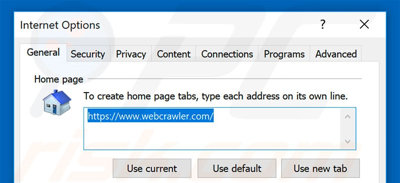 Removing webcrawler.com from Internet Explorer homepage