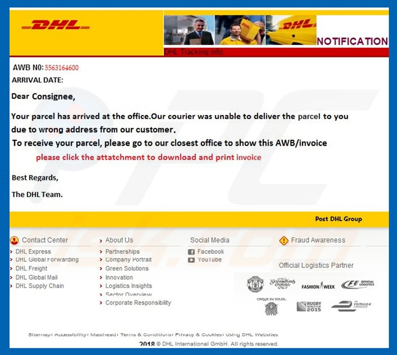 Second sample of DHL Email Virus lettern