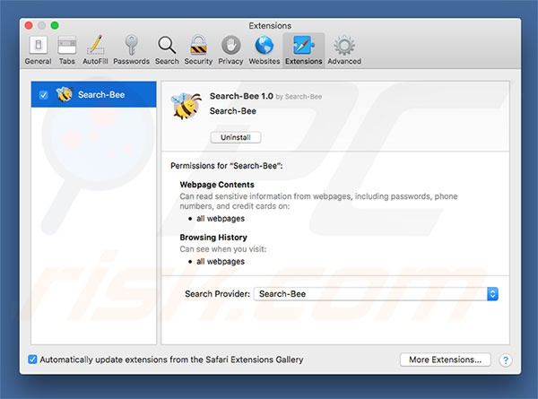 Search-Bee browser hijacker in Safari