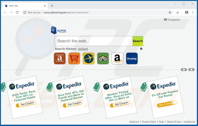 alphashoppers.co browser hijacker