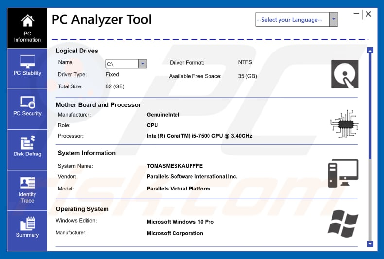 PC Analyzer Tool unwanted application