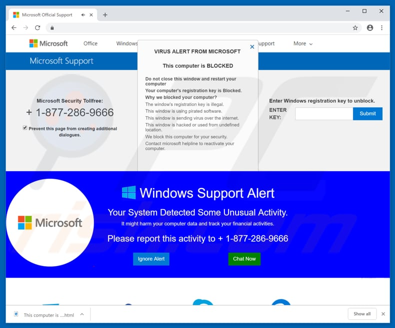Microsoft Support POP-UP Scam used to promote PC Analyzer Tool