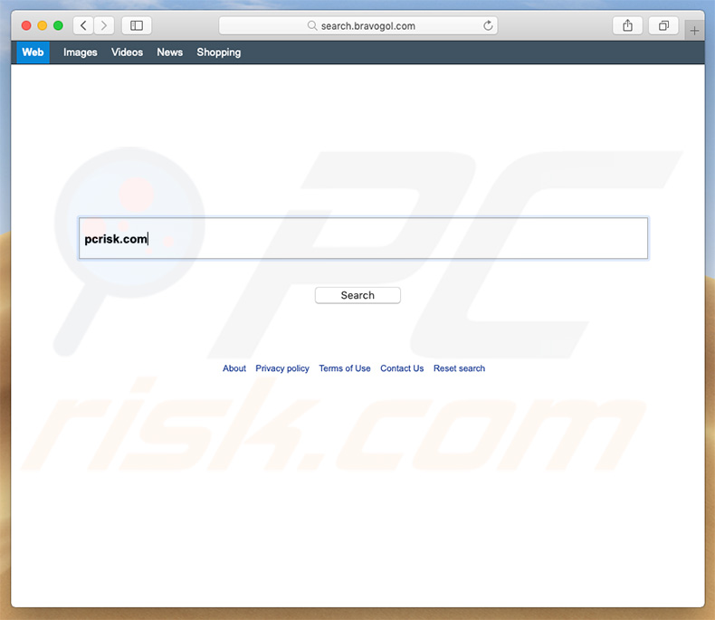 search.bravogol.com browser hijacker on a Mac computer