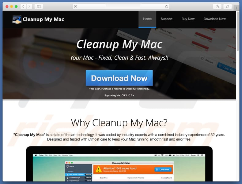 Cleanup My Mac scam