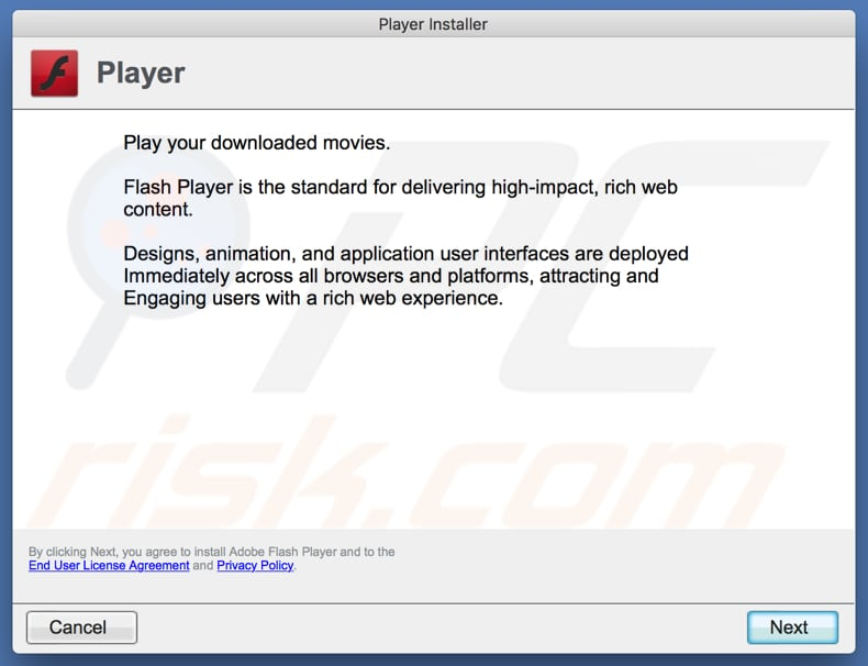 deceptive Flash Player installer