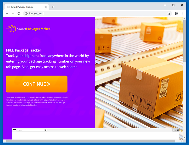 Website used to promote Smart Package Tracker browser hijacker