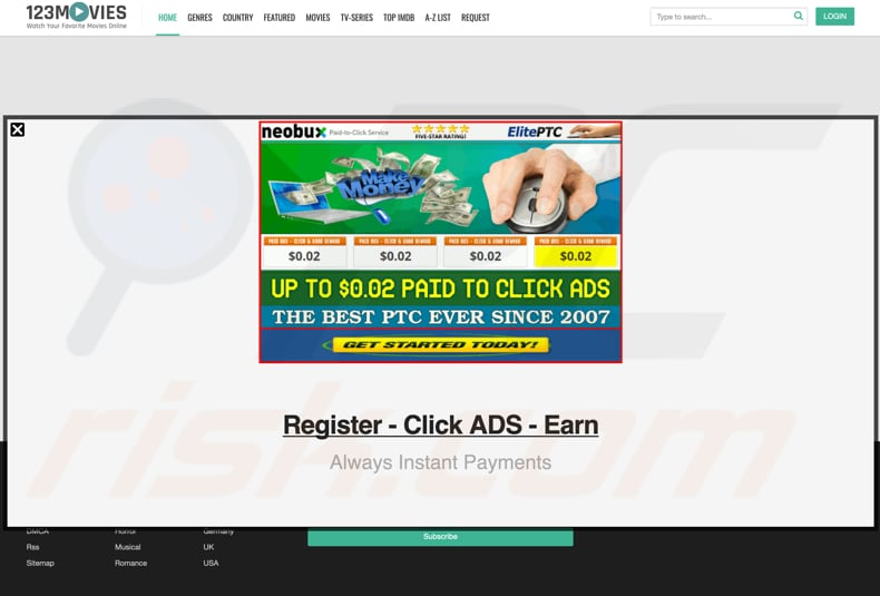 0123movies opened unreliable lottery website