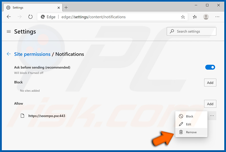 Disable pop-up notifications in Microsoft Edge web browser
