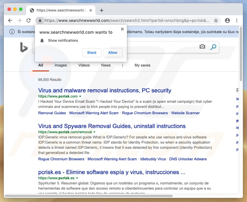 searchnewworld.com browser hijacker on a Mac computer