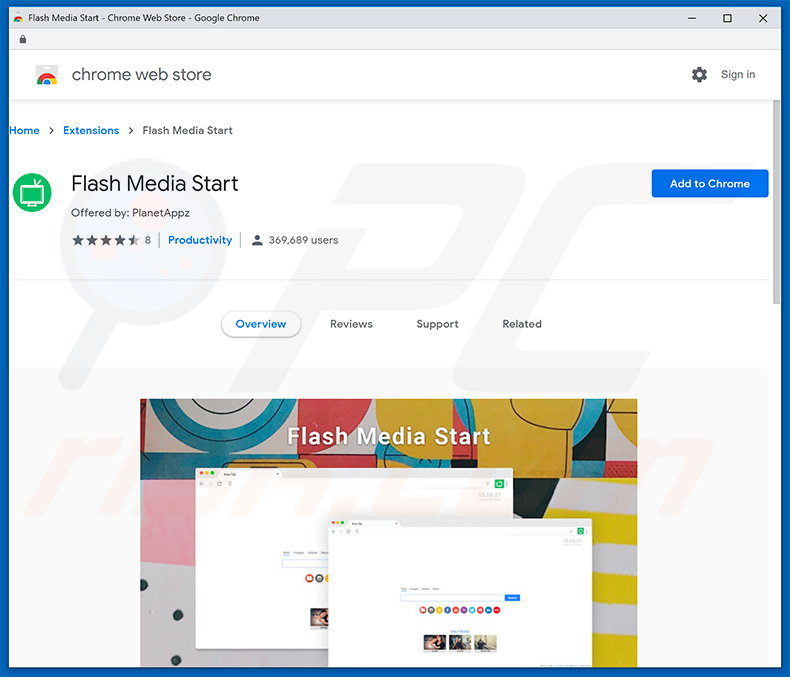 Flash Media Start browser hijacker in Google Chrome Web Store