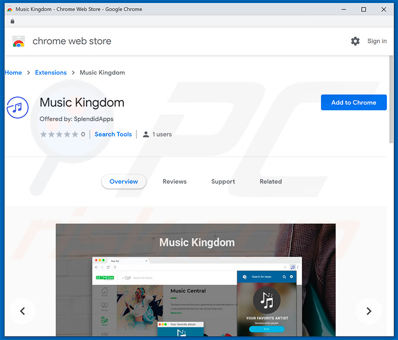 Music Kingdom browser hijacker in Google Chrome Web Store