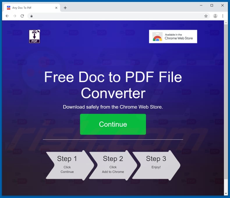 Website used to promote AnyDocToPdf browser hijacker