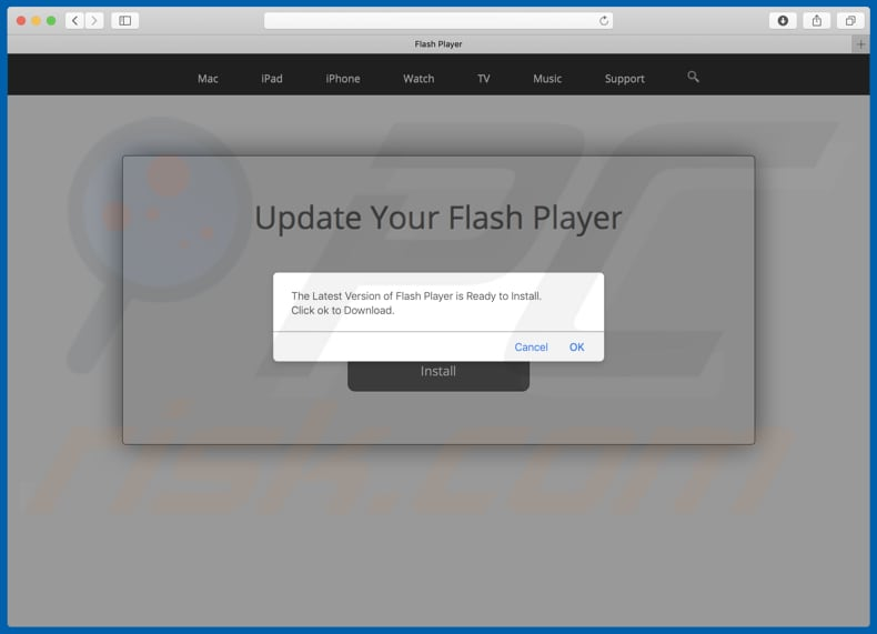 Dubious website used to promote fake Flash Player