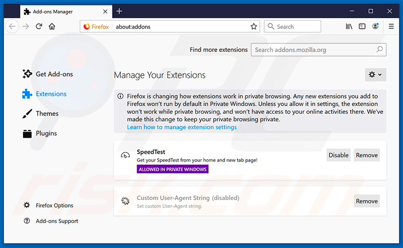 Removing search.yahoo.com related Mozilla Firefox extensions
