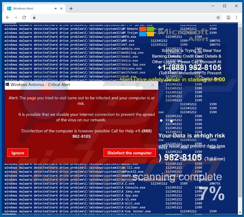 Windows Antivirus - Critical Alert scam