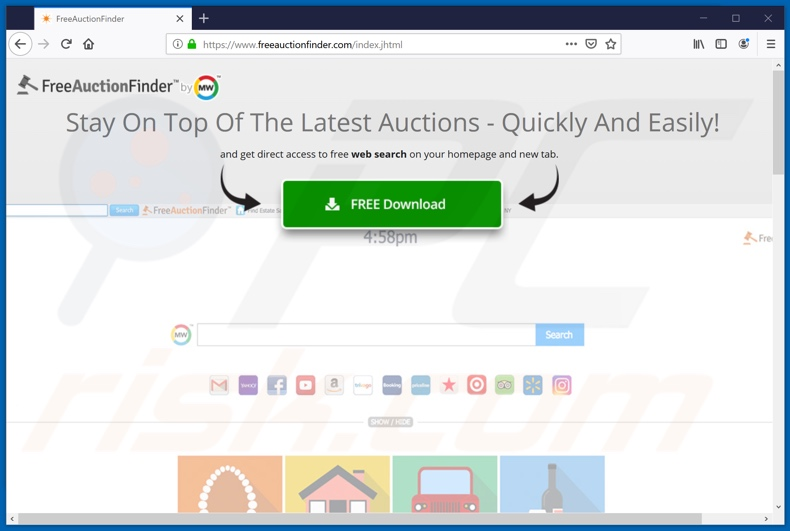 Website used to promote FreeAuctionFinder browser hijacker
