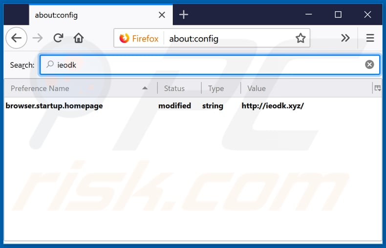 Removing ieodk.xyz from Mozilla Firefox default search engine