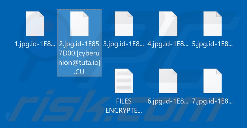 Files encrypted by CU ransomware (.CU extension)