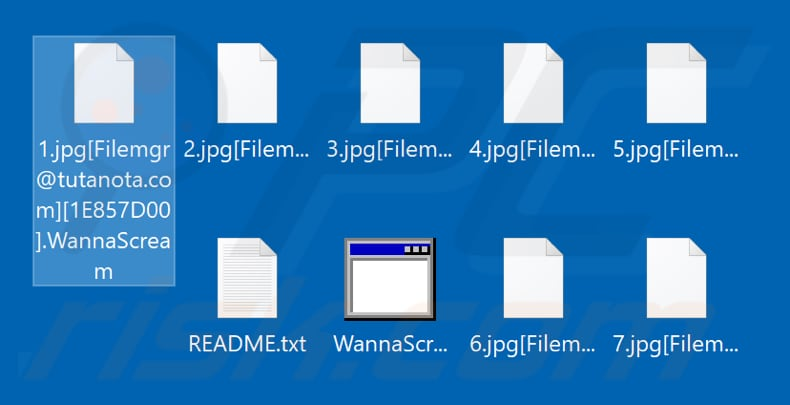 Files encrypted by WannaScream ransomware (.WannaScream extension)