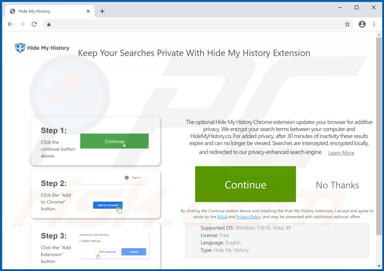 Website used to promote Hide My History browser hijacker