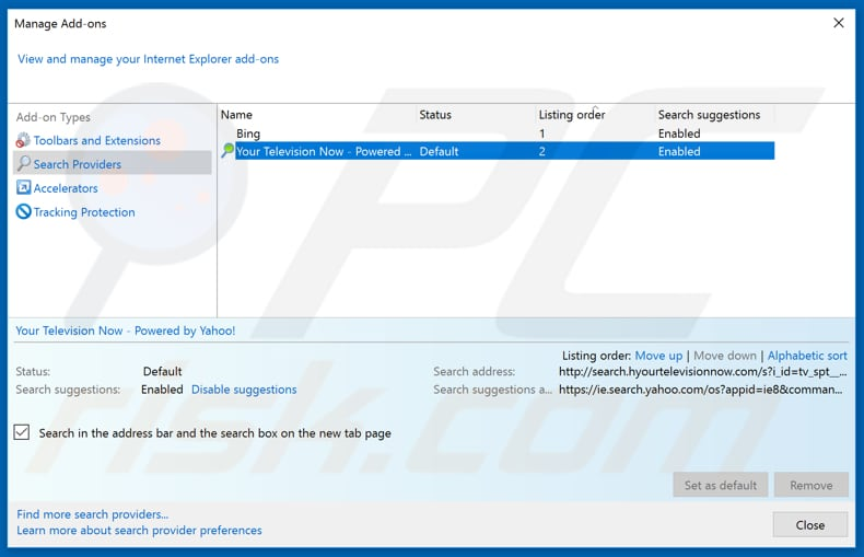 Removing feed.boostersearch.com from Internet Explorer default search engine