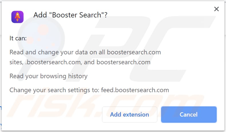 booster search browser hijacker asks for a permission to be installed