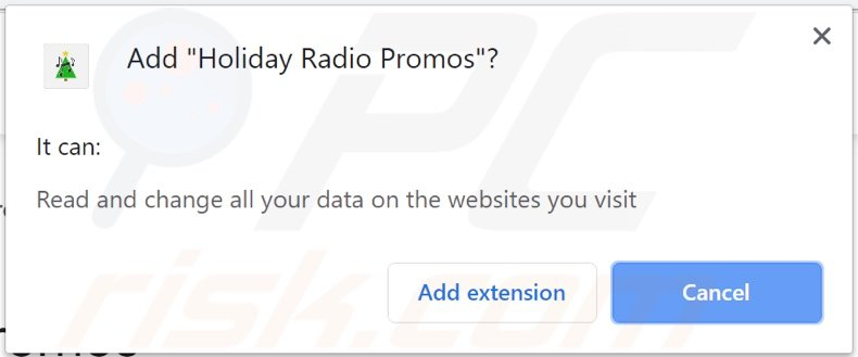 Holiday Radio Promos adware asking for permissions