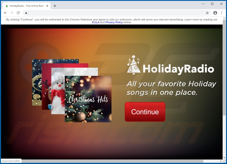 Website promoting Holiday Radio Promos adware