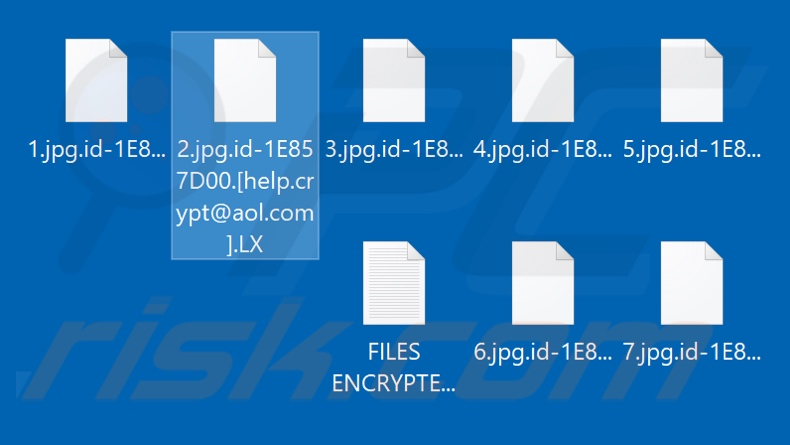 Files encrypted by LX ransomware (.LX extension)
