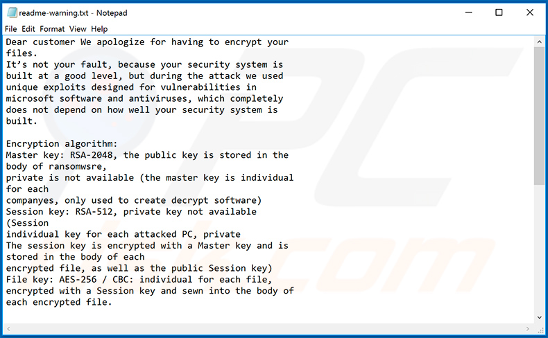The updated Makop ransomware ransom note