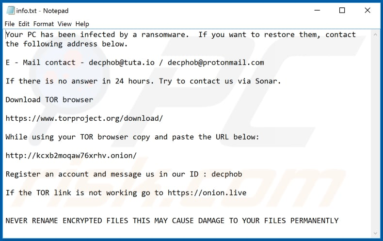 Eking ransomware text file (