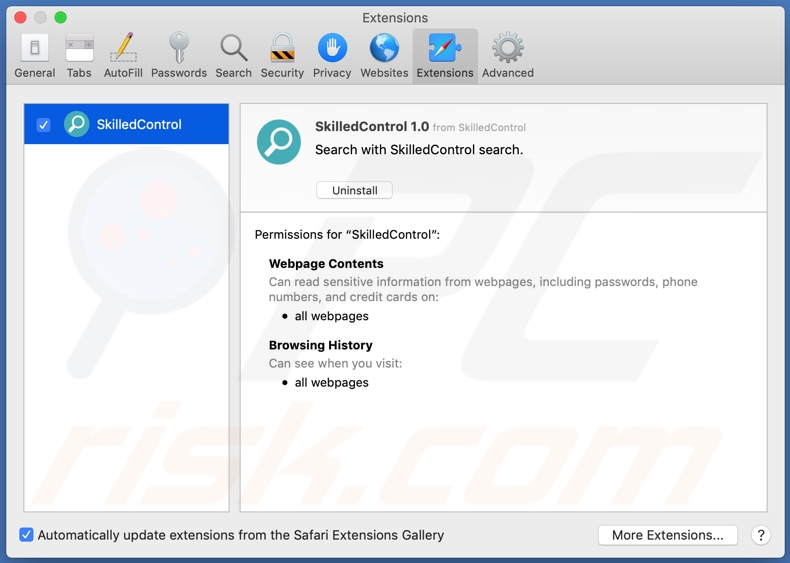 SkilledControl adware installed onto the Safari browser