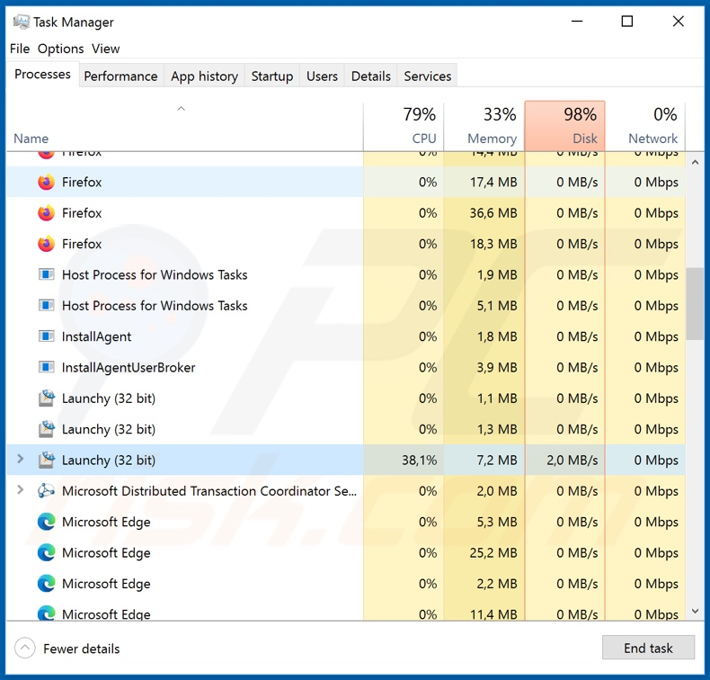 WastedLocker ransomware process on task manager (Launchy)