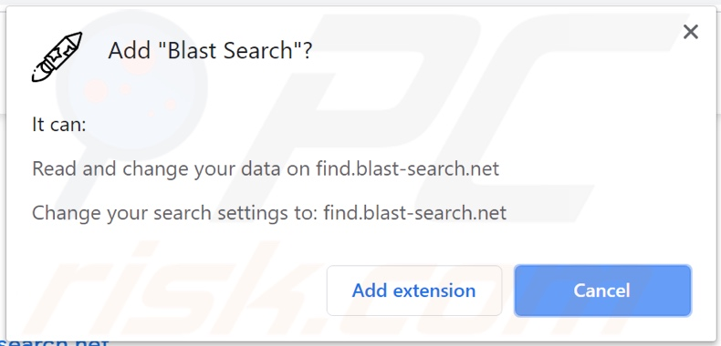 Blast Search browser hijacker asking for permissions