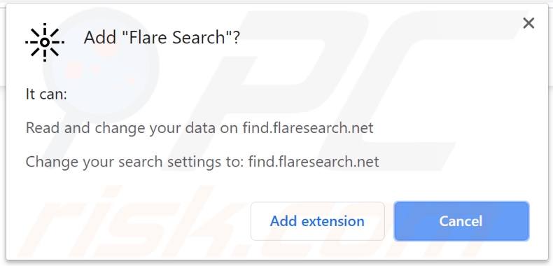Flare Search browser hijacker asking for permissions