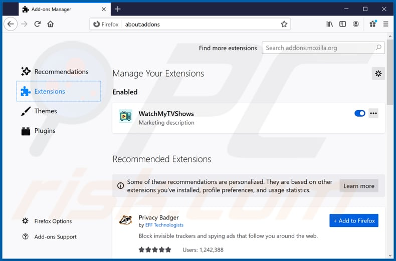 Removing hp.myway.com related Mozilla Firefox extensions