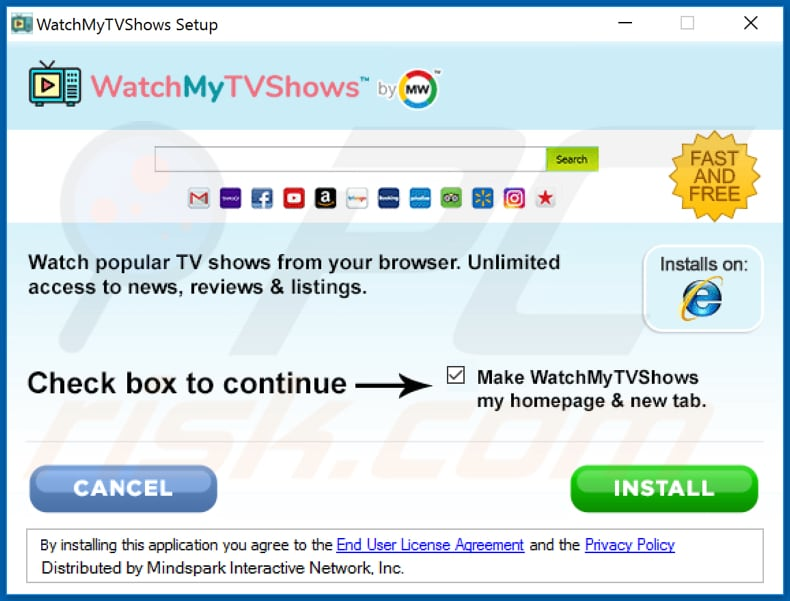 Official WatchMyTVShows browser hijacker installation setup