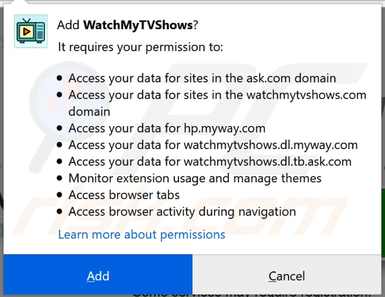 watchmytvshows toolbar notification firefox