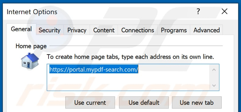 Removing mypdf-search.com from Internet Explorer homepage