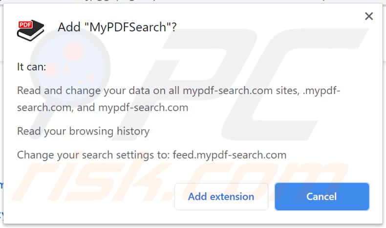 mypdfsearch browser hijacker notification