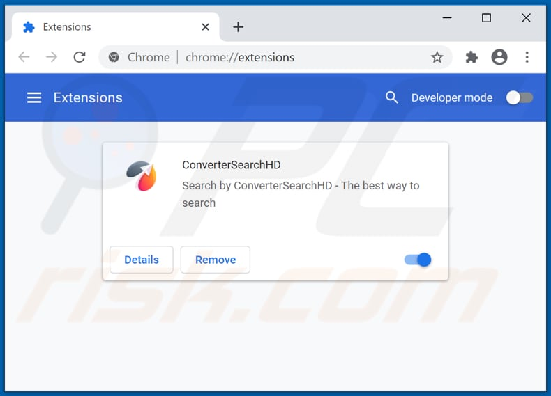 Removing convertersearchhd.com related Google Chrome extensions