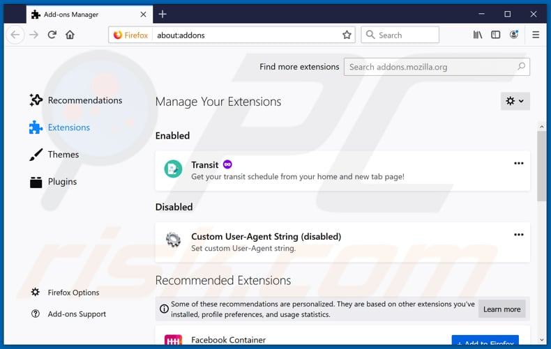 Removing convertersearchhd.com related Mozilla Firefox extensions
