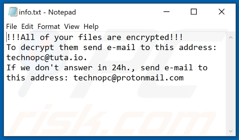 DLL (Phobos) ransomware text file (info.txt)