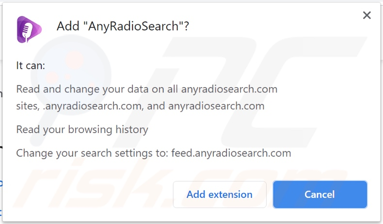 AnyRadioSearch browser hijacker asking for permissions