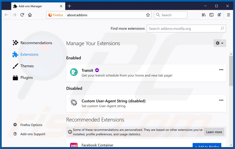 Removing freestreamsearch.com related Mozilla Firefox extensions