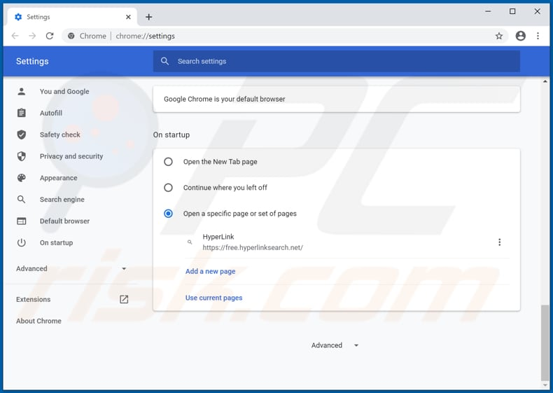 Removing free.hyperlinksearch.net from Google Chrome homepage