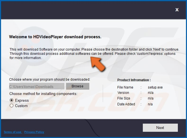 hyperlink search browser hijacker installer used for distribution