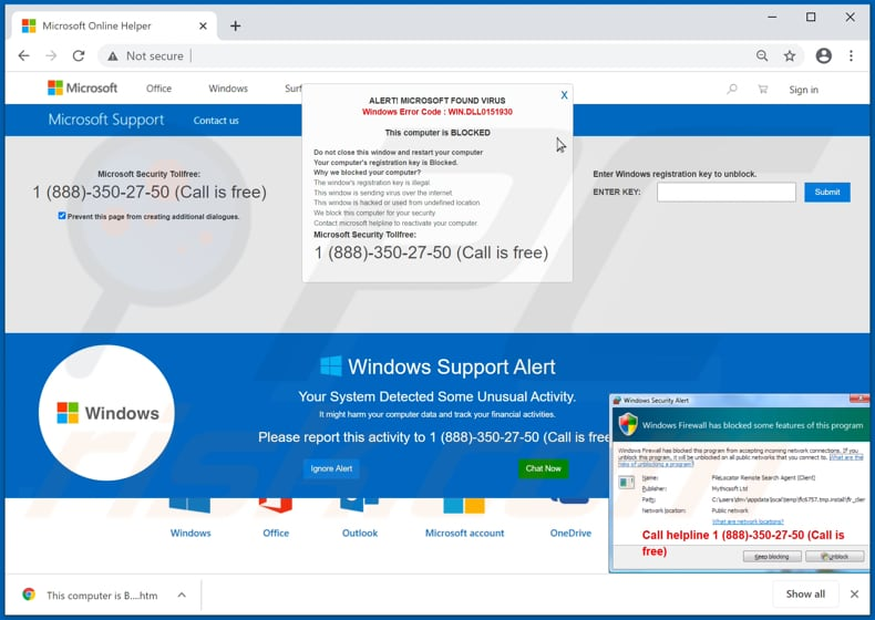 Windows Error Code: WIN.DLL0151930 scam