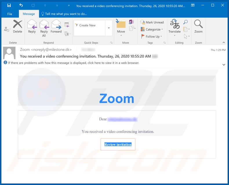 Zoom scam email spam campaign